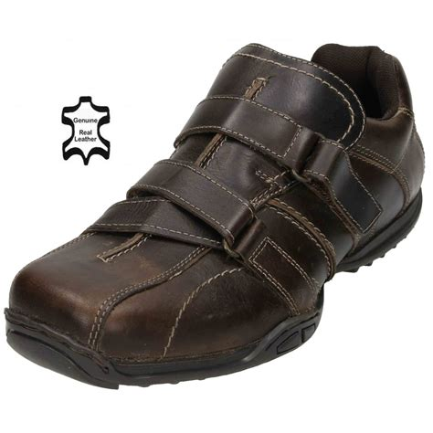 mens real leather casual velcro fastening