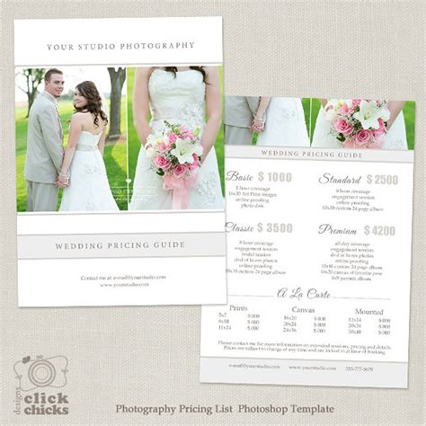 wedding photography pricing template wedding photography package pricing list template
