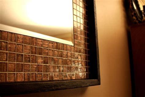 tile framed bathroom mirror iridescent metallic copper glass tile framed mirror java