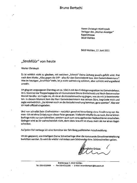 Brief Schweiz Beispiel Svp Wohlen Anglikon Wehe Wenn Sie Schreiben