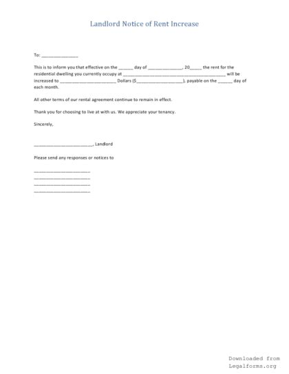 Rent Increase Letter From Landlord landlord s notice to increase rent pdf rtf word