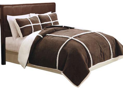 microsuede sherpa chocolate comforter set with shams