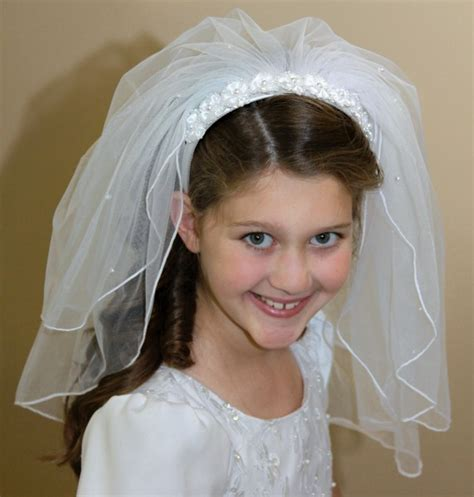 communion hairstyles with headband veil pearl edge first communion headband with veil