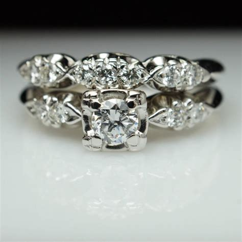 vintage deco wedding rings vintage deco bridal set engagement ring matching wedding band deco ring set