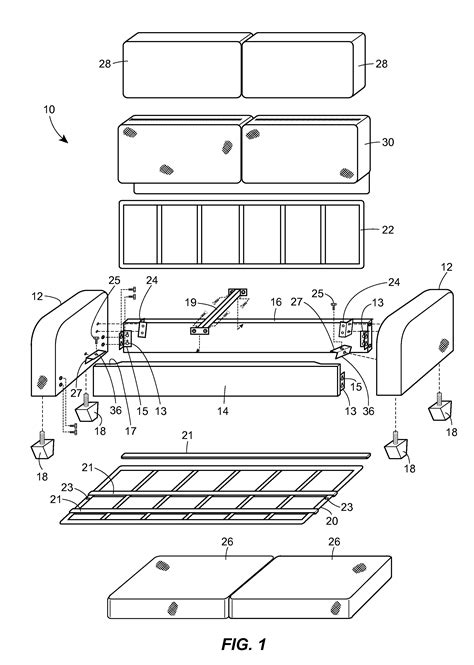 parts of sofa patent us20120212021 easy to assemble sofa and method of