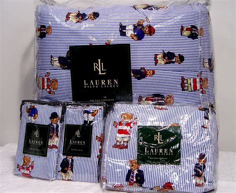 new ralph lauren teddy bear comforter set king 4pc ebay