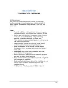 Duties Of A Carpenter by Construction Carpenter Description Template Sle Form Biztree