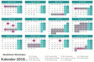 Kalender 2018 Mit Feiertagen Ferien Nordrhein Westfalen 2018 Ferienkalender 220 Bersicht