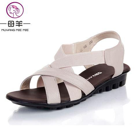 comfortable sandal brands muyang chinese brand summer women genuine leather flat