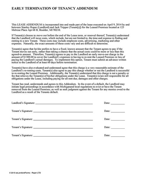 Early Lease Termination Addendum Ez Landlord Forms Lease Rider Template