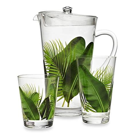 acrylic barware poolside palms acrylic drinkware bed bath beyond