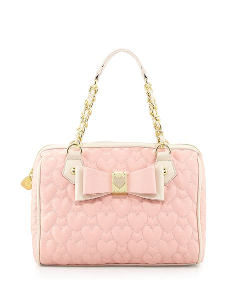 Betsey Johnson Handbag Quilted Satchel by Betsey Johnson Twotone Quilted Satchel Bag Blush In