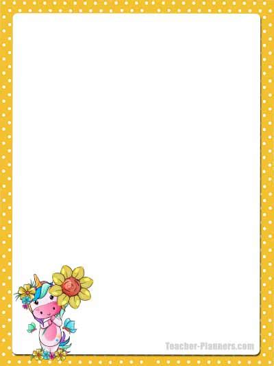 cute unicorn stationery  printable unlined paper