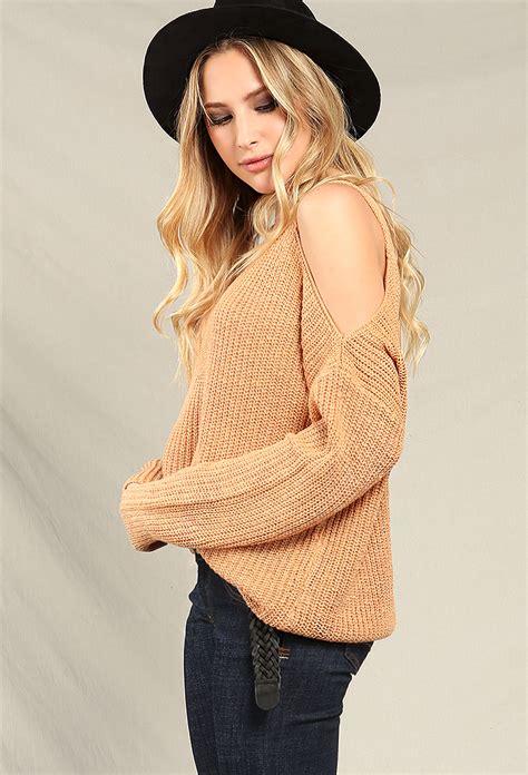 shoulder knit knit open shoulder sweater shop sweaters at papaya clothing