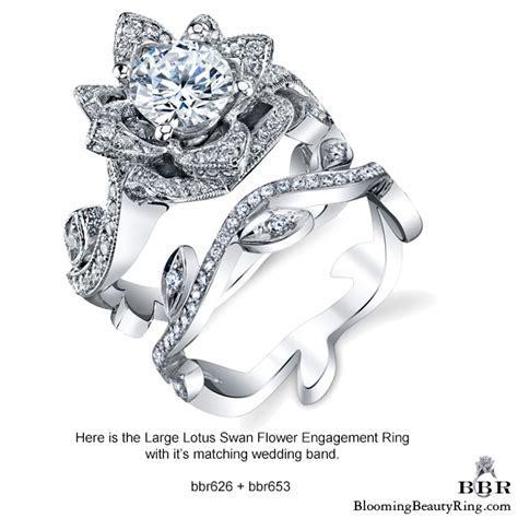 The Large Lotus Swan 1.48 ct. Diamond Engagement Flower