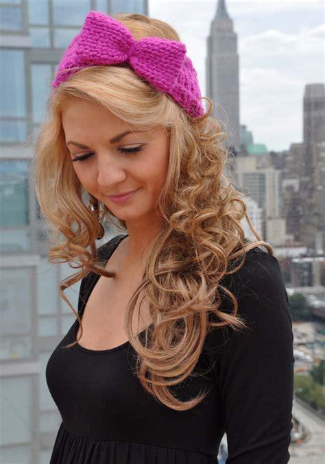 pink headband pattern bow head bow headband girly knits