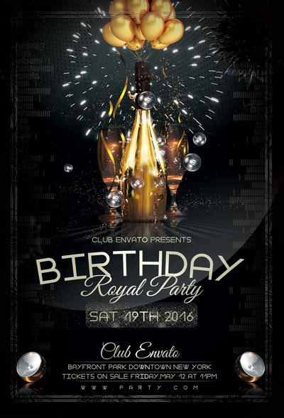 birthday royal party flyer template by stormclub on deviantart