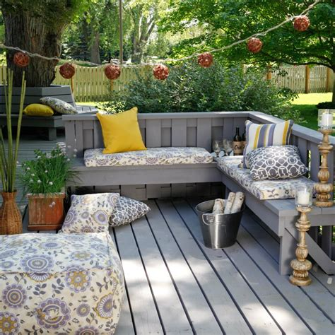 patio seating ideas deck patio decor built in benches outdoors pinterest