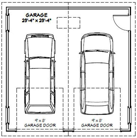 What Is The Size Of A Standard Garage Door 24x24 2 Car Garage 24x24g1 576 Sq Ft Excellent Floor Plans Decor Garage
