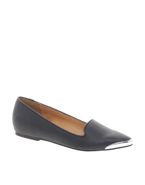 river island wedge pointed slipper shoes in black