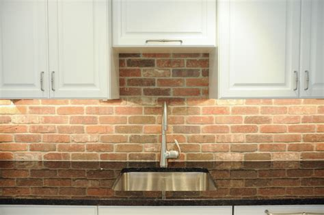 brick tile backsplash kitchen sleek simple transitional kitchen in west chester