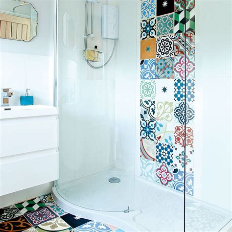 patchwork bathroom modern white bathroom with patchwork wall and floor tiles