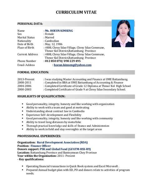 Resume Sample Format Images by Kimseng Cv