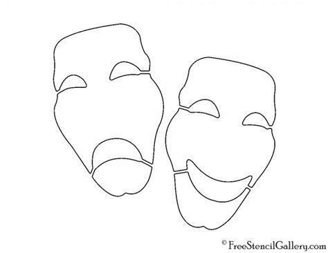 Theatre Mask Outline by Drama Masks Stencil Free Stencil Gallery