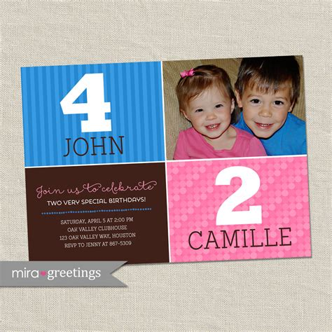 theme names for siblings double birthday party invitation sibling birthday or joint