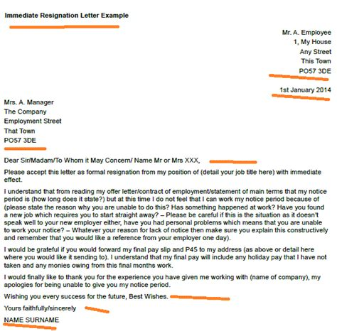 Resignation Letter For Immediate Effect immediate resignation letter exle toresign