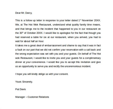 Apology Letter To Unsatisfied Client Sle Apology Letter To Customer 7 Documents In Pdf Word