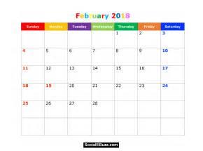 Calendar February 2018 February 2018 Calendar Printable Template Pdf With