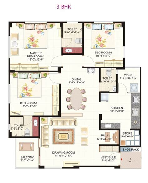 3bhk plan gharexpert ground floor plans joy studio design gallery