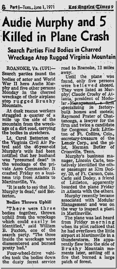 When Did Audie Murphy Died june 1 1971 audie murphy