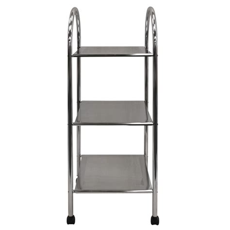 metal bathroom shelves athena 3 tier metal bathroom storage shelves trolley