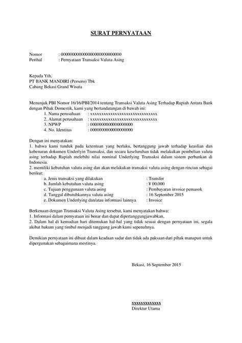 bca valas surat pernyataan transaksi valuta asing documents