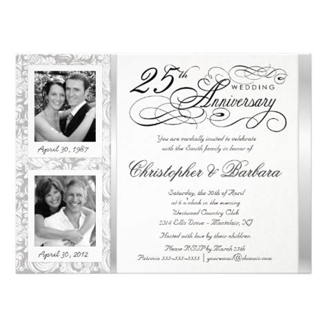 25th anniversary invitations templates personalized 25th anniversary invitations