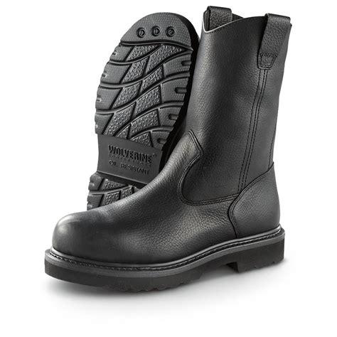 black steel toe boots for s wolverine 174 10 quot work wellington steel toe boots