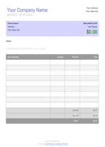 Free Invoice Template Microsoft by Free Blank Invoice Template For Microsoft Word