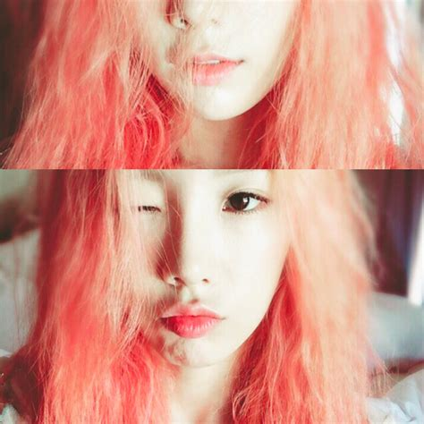 colored hair taeyeon reveals alluring watermelon colored hair on