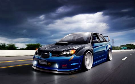 subaru tuner car artwork cars subaru impreza wrx sti tuning walldevil