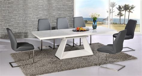 White Extending Dining Table And Chairs Modern White High Gloss Extending Dining Table And 6 Grey Chairs