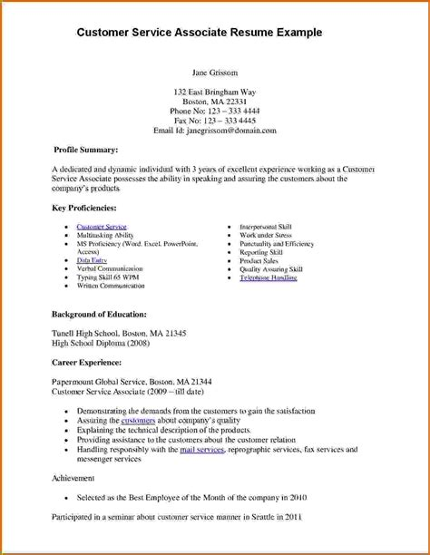 Resume Sles For Customer Service Associate 9 How To Write Customer Service Resume Lease Template