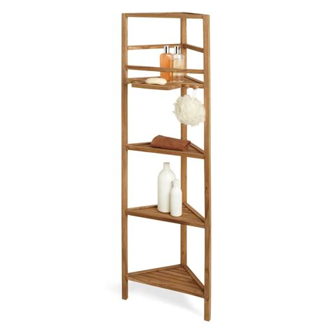 59 quot teak corner bathroom shelf bathroom