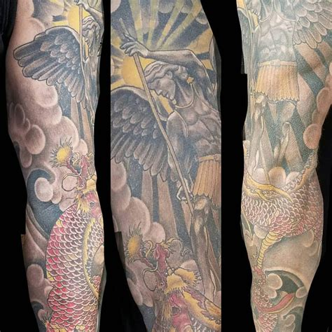 tattoo parlor eureka bohemian tattoo saint michael and japanese serpent