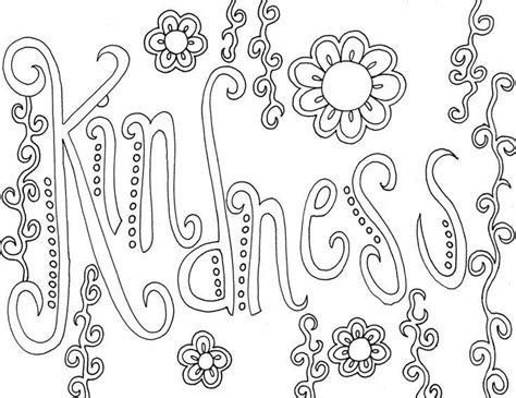 coloring pages that have words kindness word coloring pages grown ups creative words