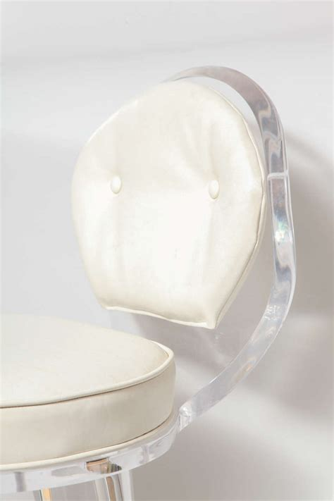 Upholstered Vanity Chair by Lucite Upholstered Rolling Swivel Vanity Chair At 1stdibs