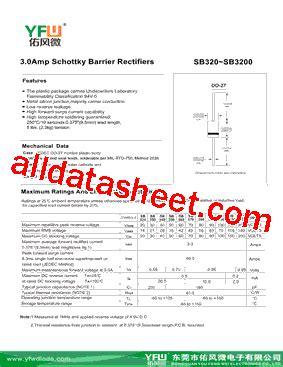 diode marking sb sb3150 datasheet pdf dongguan you feng wei electronics co ltd