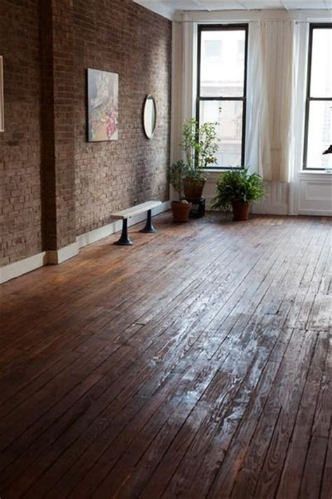 wood floor exposed brick walls lofty living pinterest