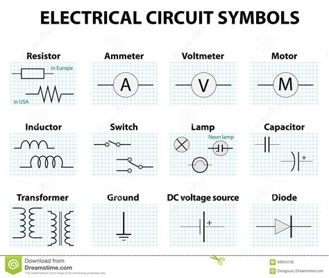 electrical wiring diagram symbols common circuit diagram symbols stock vector illustration